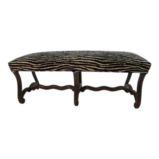 Carved Walnut French Bench in Zebra
