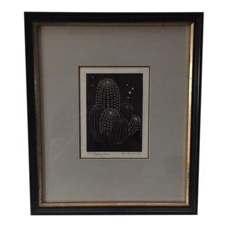 """""""Hedgehog Cactus"""" Wood Engraving"""