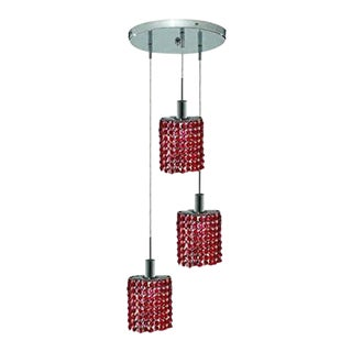Chrome Chandelier With Red Royal Cut Crystals 3 Pendant Light - New
