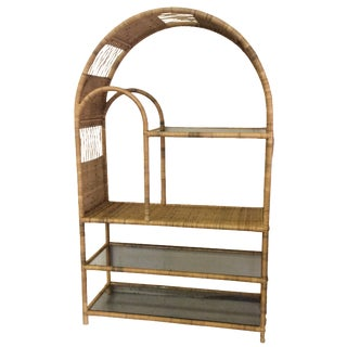 Vintage Wicker Arched Etagere