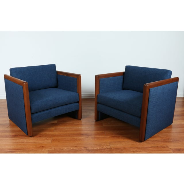 Navy Blue Mid-Century Club Chairs- A Pair - Image 9 of 10