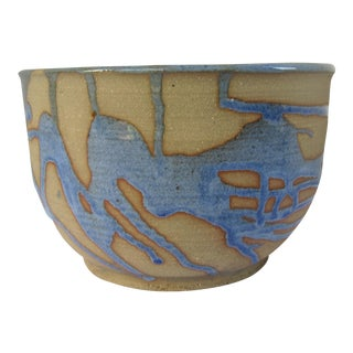 Vintage Handmade Blue & Tan Pottery Bowl