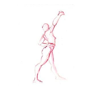 Red Twist Reach Female Dancer Watercolor Original Figure Drawing