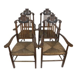 Vintage Carved 'King' Chairs - Set of 4
