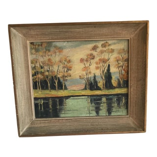 Vintage Lake & Forest Painting
