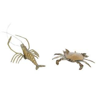 Vintage Brass Crustaceans - A Pair