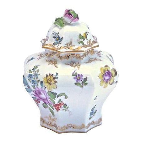 Antique Meissen Floral Lidded Jar - Image 1 of 7