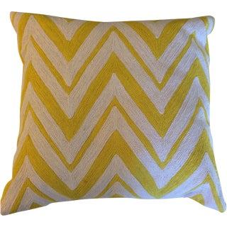 Yellow Chain Stitch Chevron Pillows - A Pair