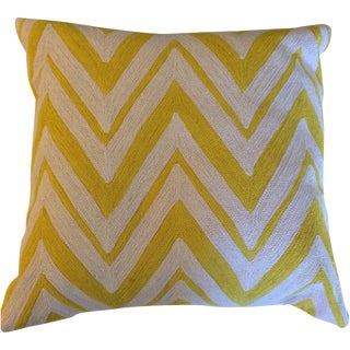 Yellow Chain Stitch Chevron Pillows - A Pair