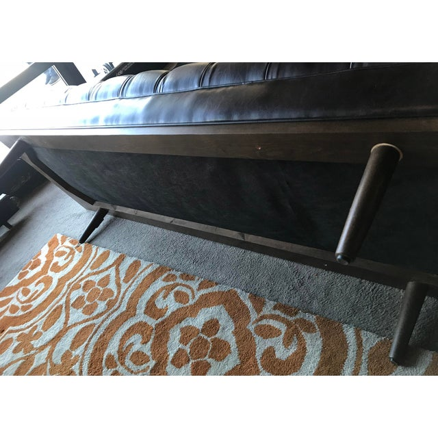 Mid Century Modern Chesterfield Tufted Walnut Bench - Image 6 of 6