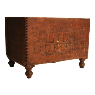 Vintage Lion Coffee Wood Shipping Crate Trunk