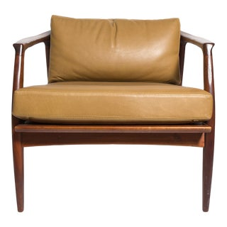 Milo Baughman Leather and Walnut Lounge Chair-1960's. Mfg.