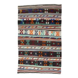 "Handwoven Vintage Embroidered Turkish Kilim Rug - 6' X 9'5"""