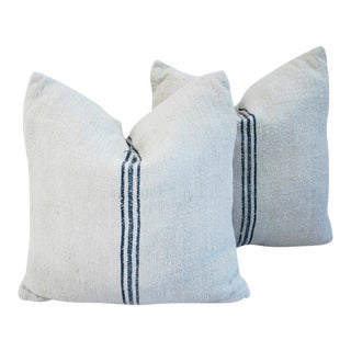 French Grain Sack Textile Pillows - Pair