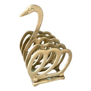 Art Deco Style Brass Swan Letter Rack