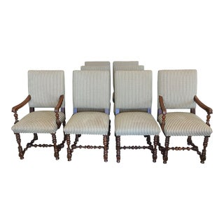 Custom Gingham Chairs with Turned Legs- Set of 8