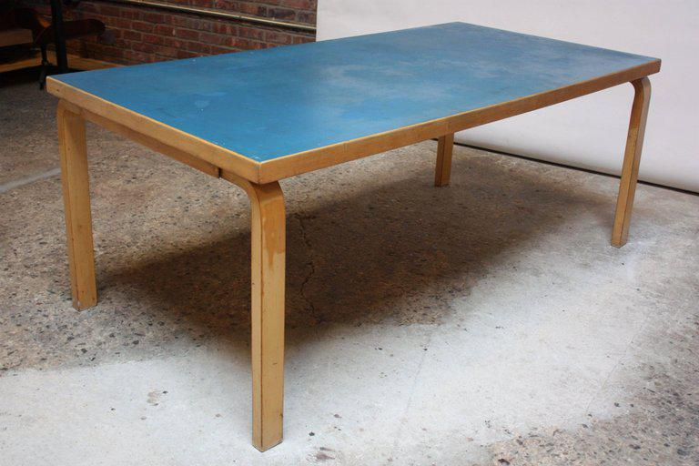 Alvar Aalto Birch Dining Or Writing Table With Blue Top And Cabinet   Image  4 Of