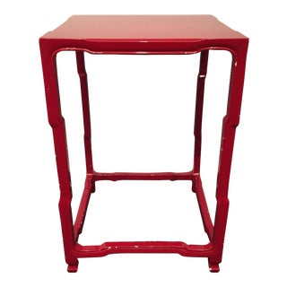 Modern-Asian Red Square Side Table