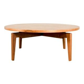 Mid Century Jens Risom Rotating Lazy Susan Walnut Coffee Table