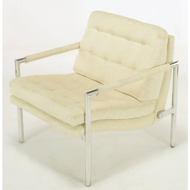 Pair of Polished Aluminum & Linen Lounge Chairs in the Manner of Harvey Probber - Image 6 of 9
