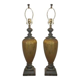 Pair of Hollywood Regency Style Table Lamps in Gold and Black Finish