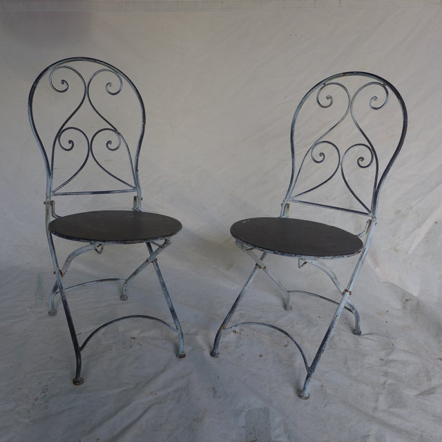 French Style Children 39 S Folding Iron Chairs A Pair Chairish