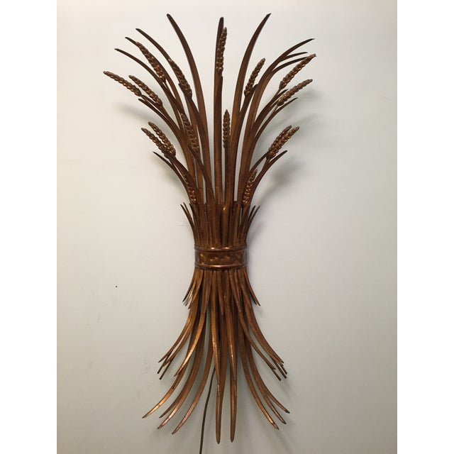 Image of Vintage Gold Gilt Wheat Sheaf Wall Sconce