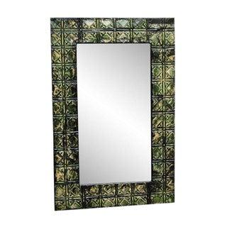 Green Tin Panel Mirror with Diamond Square Design
