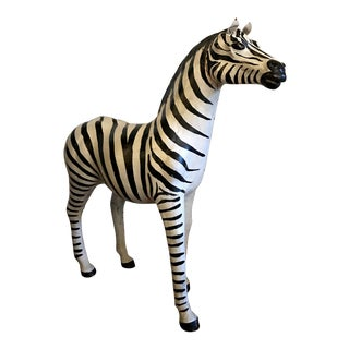 Hand Painted Leather Zebra