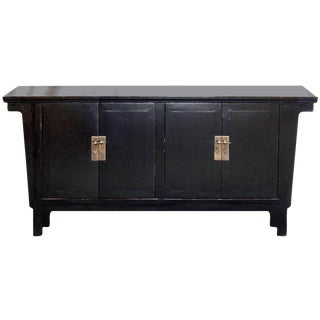 Asian Black Wooden Sideboard