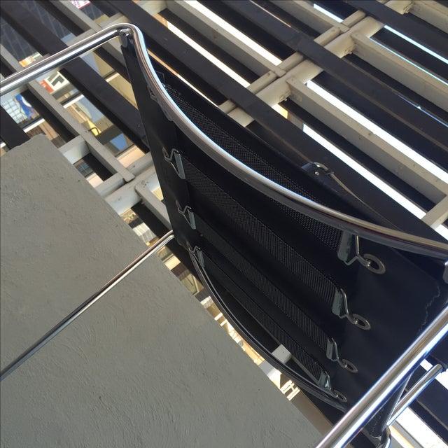 Image of DWR Italian Leather Chrome Bar Stool - 3 Piece Set