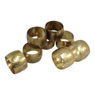 Hammered Vintage Brass Napkin Rings - Set of 8