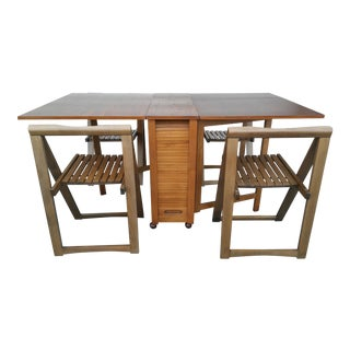 Danish Modern Gate Leg Drop Leaf Teak Dining Set