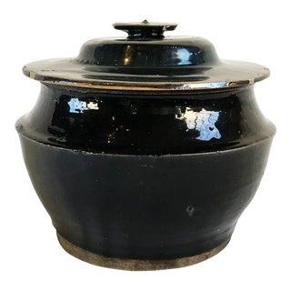 Antique Black Ceramic Lidded Pot