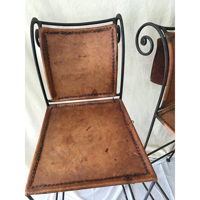 Scrolled Iron & Leather Bar Stools - Set of 3 - Image 6 of 11