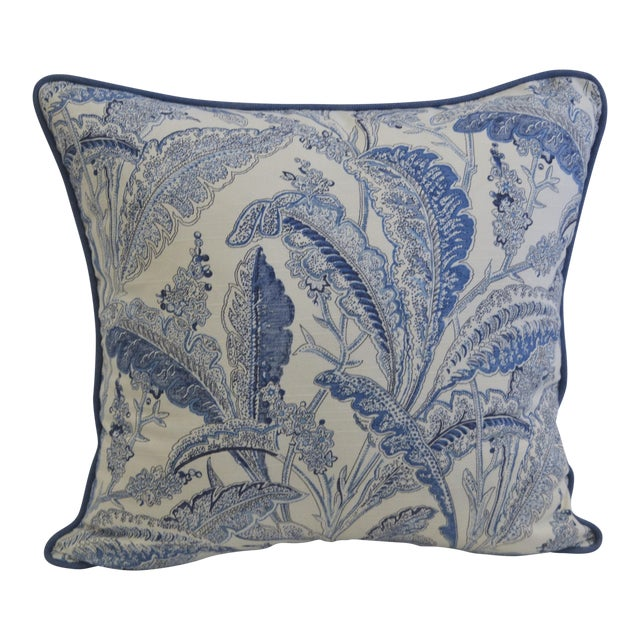 Blue & White Paisley Pillow - Image 1 of 3