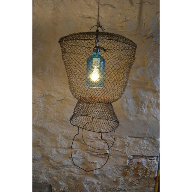 Pendant Light from Seltzer Bottle Suspended in French, Steel Mesh Fish Basket - Image 3 of 11