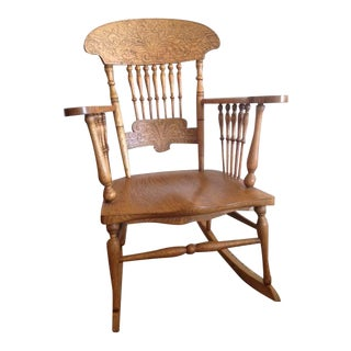 Circa 1900 Heart & Feather Motif Rocking Chair