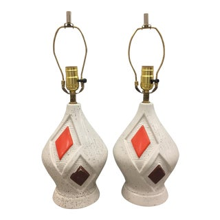 Mid-Century Harlequin Ceramic Table Lamps - Pair