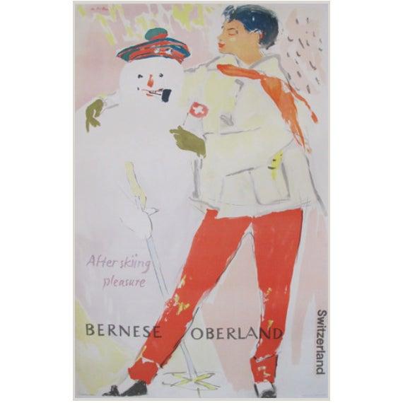 Vintage Hans Falk 1954 Original Swiss Ski Poster - Image 1 of 2