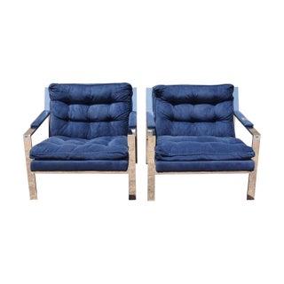 Milo Baughman Style Chrome Lounge Chairs - A Pair