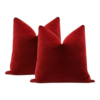 "20"" Christmas Red Velvet Pillows - A Pair"