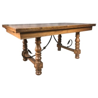 1950s French Oak Draw Leaf Trestle Table
