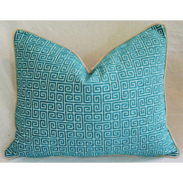 Designer Turquoise Greek Key Velvet Pillows - Pair - Image 6 of 8