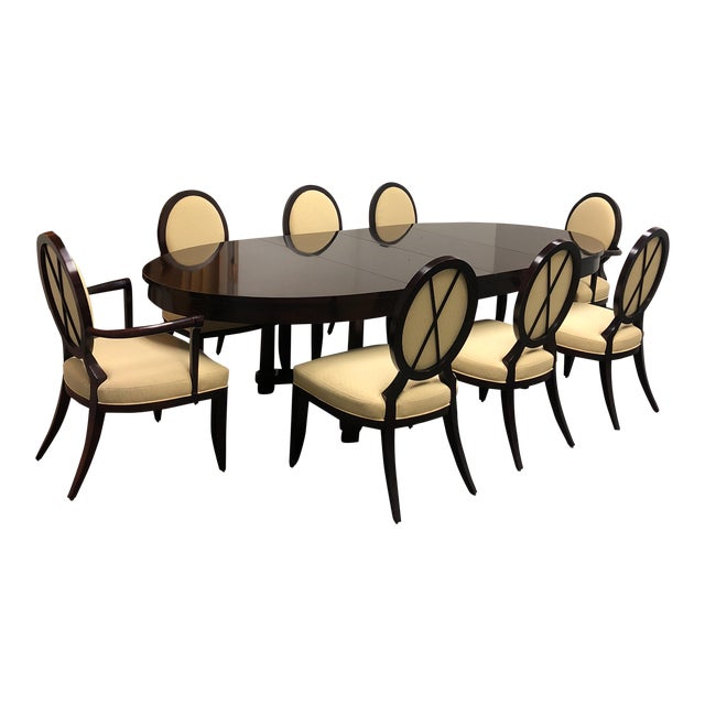 Barbara Barry Oval Dining Table & 8 Chairs for Baker - Set of 9 - Image 1 of 8