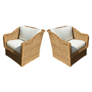 1950s Rattan Wicker Lounge Chairs - A Pair