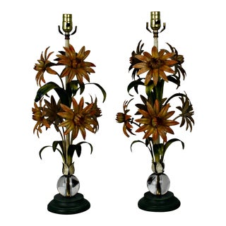 Vintage Italian Tole Floral Table Lamps - A Pair