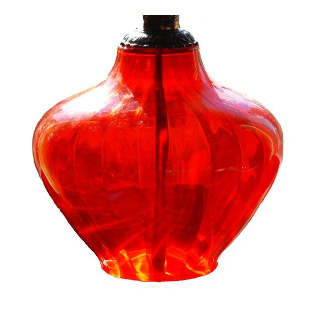 Image of Retro Orange Glass Brass Lamp