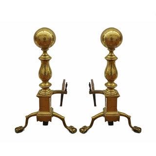 Vintage Brass Andirons - Pair