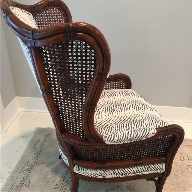 Cream Amp Blue Animal Print Upholstered Arm Chair Chairish
